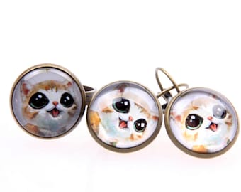 CAT SET earrings and ring