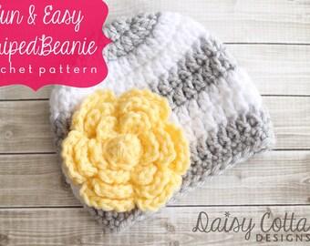 Easy Crochet Hat Pattern, Baby Crochet Hat Patterns, Crochet Beanie Pattern, Daisy Cottage Designs Hat Pattern, Easy Crochet Patterns