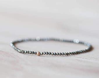 Delicate Pyrite Stretch Bracelet, Beaded Pyrite Jewelry, Gemstone Elastic Stacking Bracelet, Minimal Simple Fools Gold