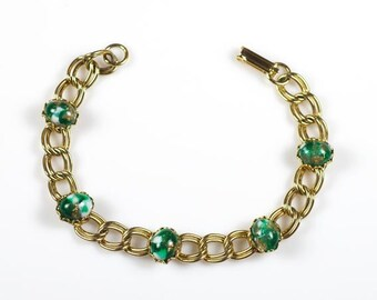 Vintage Green Glass Cabochons and Gold Tone Chain Bracelet 7-Inch