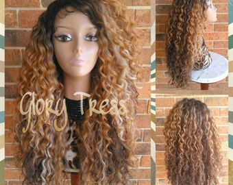 ON SALE// Long Kinky Curly Lace Front Wig, Ombre wig, Curly Blonde Wig, Beach Curls // RESTORE ( Free Shipping )