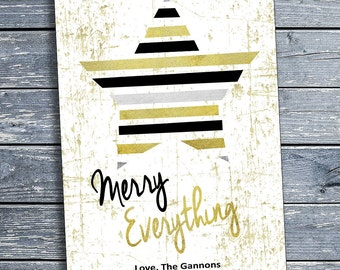 Personalized Creative Holiday Card, Merry Everything,Digital Download, Custom, Print at Home