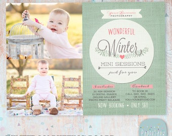 Winter Photography Marketing Board - Winter Mini Sessions - Photoshop template - IW001 - INSTANT DOWNLOAD
