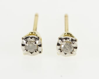 10K Diamond Inset Solitaire Stud Post Back Earrings Yellow Gold