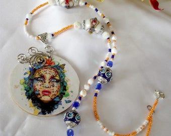 Unirang, figurative, fantasy, colorful beads, printed pendant necklace