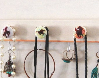 "Western Horse Jewelry Organizer 20""..Hand Decorated Knobs..Western Art..Kitchen Office Closet Organizer for Equestrian Lovers"