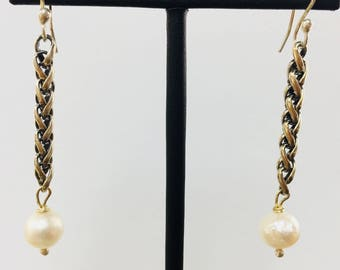 Freshwater Pearl Chainmaille Sterling Dangle Earrings