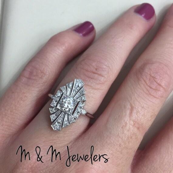 14K White Gold Ladies Antique Style European Cut Diamond Ring