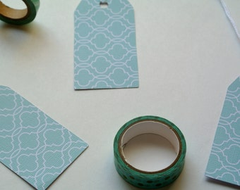 Mint Green Patterned Blank Gift Tags
