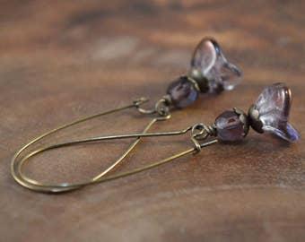 Bohemian Earrings, Purple Earrings, Czech Earrings, Flower Earrings, Bohemian Jewelry, Glass Earrings, Brass Earrings, Long Beaded Earrings