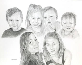 Custom Pencil Family Portrait Commission