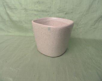 Glidden White Speckled Planter 218 Vintage Mid Century Modern ceramic stoneware