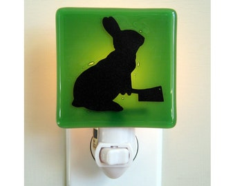 Funny Rabbit Night Light - Hand Painted Fused Glass Bunny