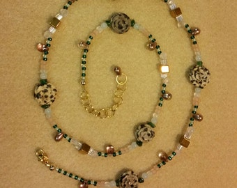 Polka Dot Roses Dalmatian Jasper and glass bead necklace