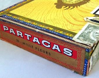 Wooden Cigar Box - Partagas Cigar Box - Cigar Labels Illustrations Paper - Box to Decorate - Wooden Storage Box