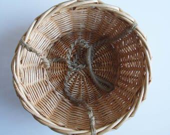 Vintage rattan Hanging Basket-Plant Holder-fruit basket-rattan hanging basket -Boho Style-Garden Decor-woven wicker planter