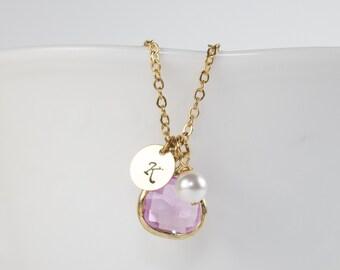 Personnalisé juin Birthstone Light améthyste collier en or, collier améthyste clair, juin Birthday bijoux, Collier or personnalisé #877