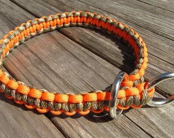 17 inch orange and Camo reversible paracord training slip collar