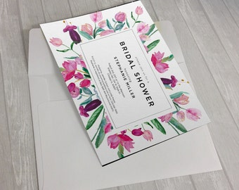 Garden Watercolor Flowers Invitation Design