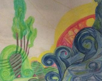 Crayon de couleur dessin «La fiancée de création» - l'oeuvre