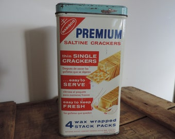 Vintage Nabisco Saltine Cracker Tin Mid Century Nabisco Premium Container 4 Waxed Wrapped Stack Packs Tin English and Spanish
