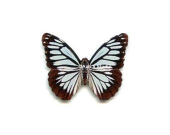 12 Small Paper Butterflies, Realistic 1 inch Paper Butterflies - Black and white Butterfly