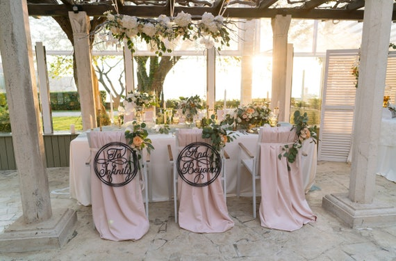 To Infinity And Beyond Chair Signs, Sweet Heart Table, Wedding Chair Sign, Laser Cut Chair Sign, Hanging Chair Sign, Sweet Heart Signs, Gold