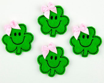 SMILEY SHAMROCK - Embroidered Felt Embellishments / Appliques - Green & Black  (Qnty of 4) SCF1080