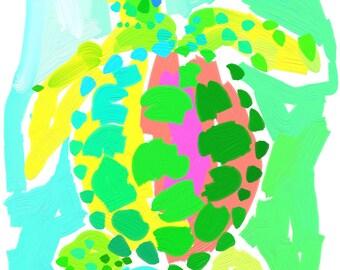 Preppy Turtle Print 11x14 Pink & Green Sea Turtle by Kelly Tracht, Colorful Art Preppy Art Key West Art Item #1M