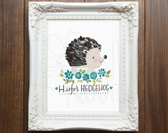 Wall Art Printable, Instant Download File, H is for Hedgehog Art, 8x10 home decor print