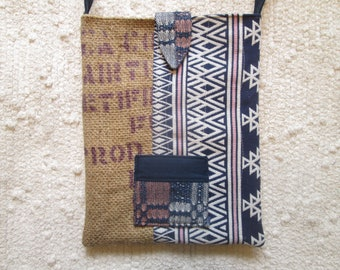 Upcycled Coffee Sack Eco Friendy Rustic Summer Crossbody Bag