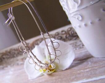 Sterling Oval Hoop Earrings, Long Oval Hoop Earrings, Boho Hoop Earrings, Wire Wrapped Hoops, Petal Hoops