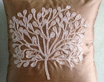 "Luxury  Dark Peach Pillows Cover, Beaded Tree Pillowcases Square  18""x18"" Silk Throw Pillows Cover - My Wish Tree"