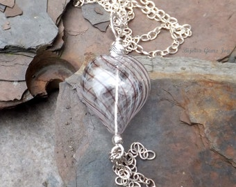 Heartflow Pendant, Lampwork Blown Glass Heart, Sterling Silver