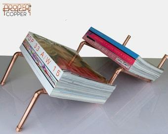 Copper Magazine Rack, Magazine Holder, Modern Magazine Organizer, Stand