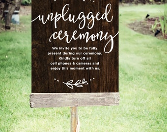 """Unplugged Wedding Sign   Printable Unplugged Ceremony Sign  Instant Download   Wedding Sign Rustic   Poster Size 24""""x30""""   No. EDN 2002P"""