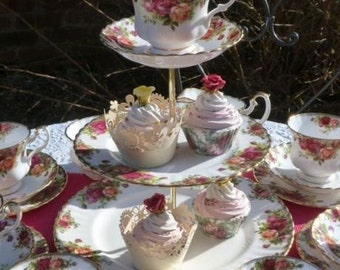Royal Albert Old Country Roses tea set for 6 people with tea cup topped cake stand