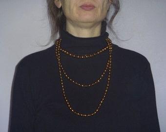 goldtone bead necklace, vintage multistrand necklace