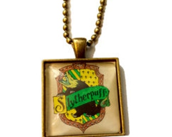 Slytherpuff Cross-House Crest Pendant Necklace