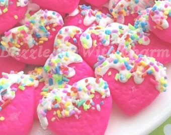 Fake heart cookie sprinkles frosting cabochons colorful polymer clay dark pink flatback supply accessories decoden phone case jewelry *4pcs*