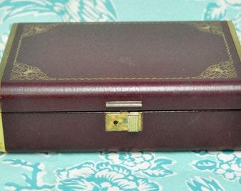 Farrington Maroon Jewelry Box
