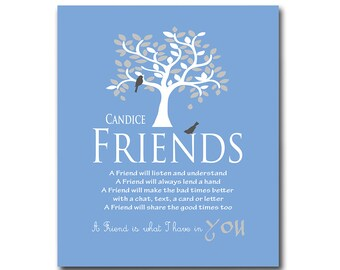 Friends - Personalized Friendship Gift - Bridesmaid Gift - Birthday Gift - Thank You for Being a Friend - Available in Any Color