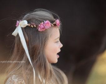 Bridal Floral Crown, Mauve Pink Flower Crown. Woodland, Wedding, Spring, headpiece, Hair Accessories, bridesmaids, flower girl