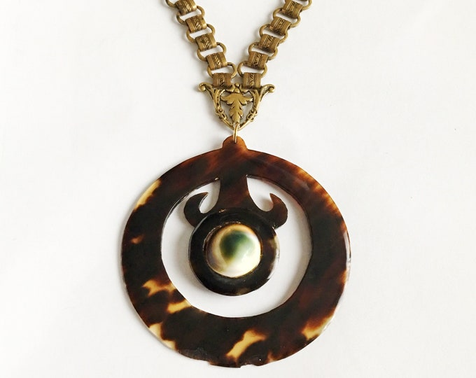 Victorian Evil Eye Operculum Shell Book Chain Faux Tortoiseshell Necklace