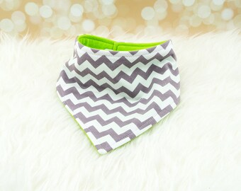 Jersey Knit Bandana Bib - Solid Lime/Medium Grey Chevron - reversible bandana bib, jersey drool bib, knit drool bib
