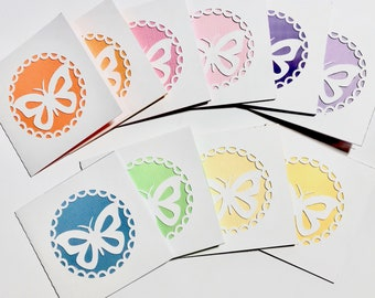 10 Butterfly Mini Note Cards, Thank You Cards, I Love You Cards, Birthday Gift Cards, Anniversary Gift Card. Wine Bottle Gift Card, Cut Out