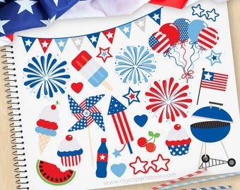 Independence Day Party, 4th of July Clipart, BBQ, USA, Fireworks, Balloons, bunting, cupcake, Commercial Use, Vector clip art, SVG Files