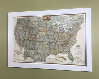 Framed United States Push Pin Map Free Shipping