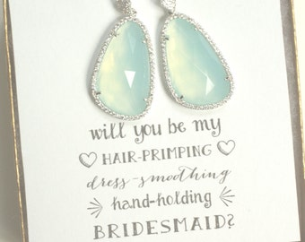 Set of 5 Earrings Mint Sparkly Earrings for Bridesmaids, Translucent Light Green Mint, Earrings Bridesmaid, ES5