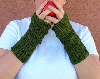 Cypress Green Fingerless Gloves, Crochet Fingerless Gloves, Wrist Warmers, Arm Warmers, Fingerless Mittens for Men or Women MADE TO ORDER
